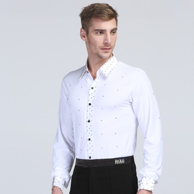 Black white men's Latin shirts mens Cha Cha Samba dance shirt adult Latin tops Rumba Tango Salsa modern ballroom dance shirt