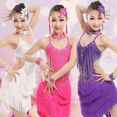 BLACK WHITE PURPLE Stage Performance Girls Costumes Latin Dance Clothing tassel Crystals Dress Kids Latin Salsa Dresses Samba Dance Costume