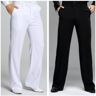 Black white straight fashion men's male competition stage performance professional ballroom latin tango waltz dancing pants