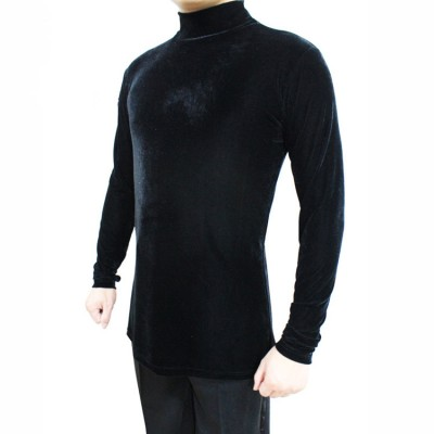 Black wine red royal blue velvet long sleeves turtle neck adult men's male competition performance tango waltz ballroom latin dance tops shirts