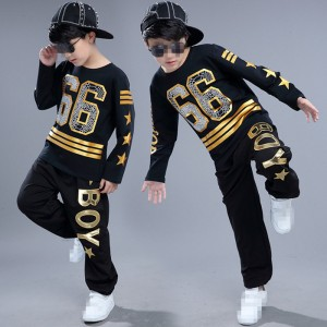 Black with gold fashion boys girls baby children school competition hip hop modern dance outfits costumes