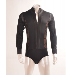 Black with lace patchwork long sleeves men's male adult performance professional competition ballroom latin dance tops leotards shirts