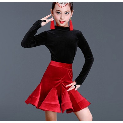 Black with red velvet latin dresses girl's kids children stage performance competition salsa chacha latin dresses