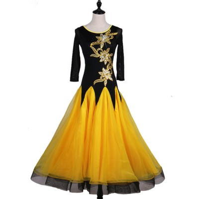 Black with yellow patchwork embroidery pattern long length long sleeves women's female ballroom tango waltz dancing dresses