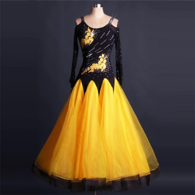 Black yellow gold white patchwork long sleeves rhinestones competition female women ballroom waltz tango performance dance dresses