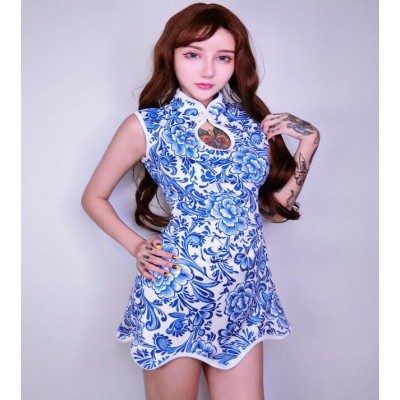 Blue and white china printed fashion sexy women's girl's stage performance singers dancers jazz solo cosplay dancing dresses outfits