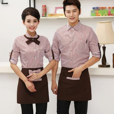 Blue cafe purple striped restaurant waitress uniforms Cafe restaurant uniform Long sleeves waiters uniforms for restaurant men hotel uniforms