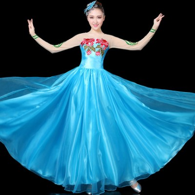 Blue Chinese Classical Folk Dance Costumes Female  Yangko Dance Fan Dance Dress Women Fan Dance Stage Performance Clothing