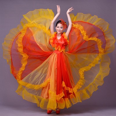 Blue colorful dance costume wear Spanish bull dance dress expansion skirt costume