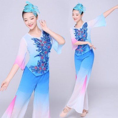 Blue gradient female Chinese Traditional Clothes Plus Size Chinese Yangko Dress Women Dance Costume Folk Square dance Top+Pant+Headwear