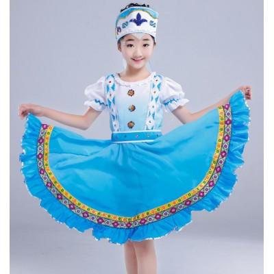 Blue gradient girls princesses childs kids traditional Russian national dress stage dance costume for child
