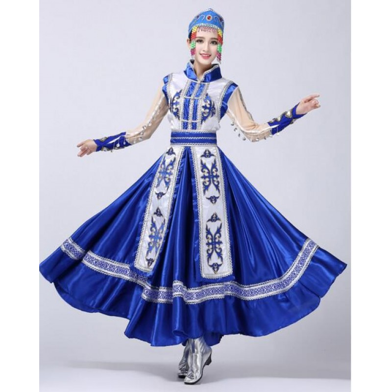 Blue minority costumes in the autumn stage performances cos play the Folk Dance Costume in Mongolia