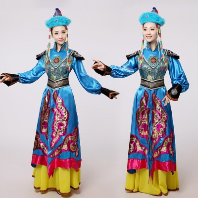 Blue Mongolian costume dance clothes Ancient princess dress stage performance clothing Chinese folk dance costume