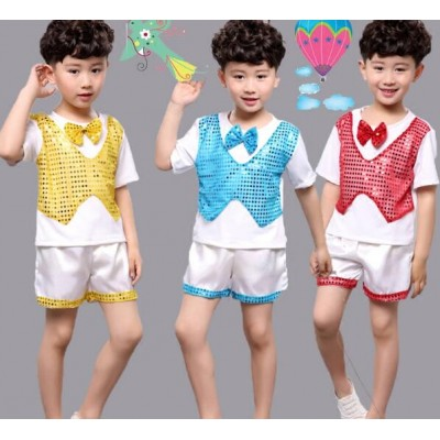 Blue red gold Children Sequin Jazz Dance Modern Dance Costume fashion boys hip hop dancing show play stage show outfits