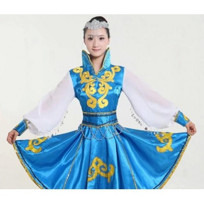 Blue red Mongolian costume dance clothes Chinese minority clothing apparel Mongolia clothes dance costume dress stage clothes