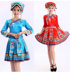 Blue red Women chinese national traditions clothes Tujia hmong miao dress clothing dance stage performance costumes