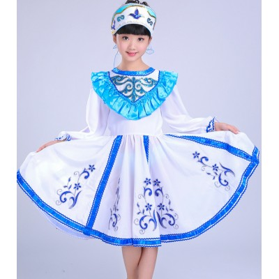 Blue turquoise gradient colored boys kids children girls performance Russian palace party cosplay folk dance dresses outfits