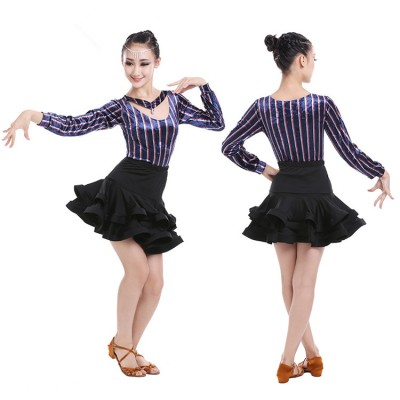Blue velvet striped children Salsa Dress Child Girls Kids Latin Dresses Girls Latin Dance Costumes