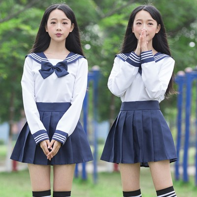 Blue white school uniforms girls sailor school uniform Japanese high school uniforms Korean school uniforms set skirts