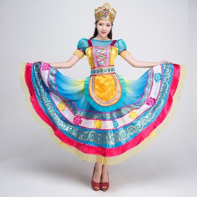 Blue women ladies traditional russian national costume russia clothing princess dance dresses costumes