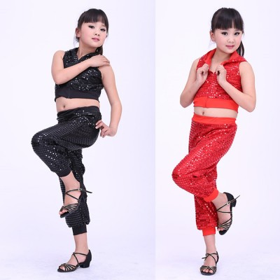 Boy Jazz Dance For Girls Jazz Dance Costumes for Girl Kids Hip Hop Set  Performance Sequins Jazz Costumes For Boys