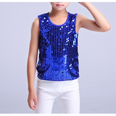 boy jazz dance hiphip vests sequined kids children modern dance singers show performance street dance  dancers dance vest tops