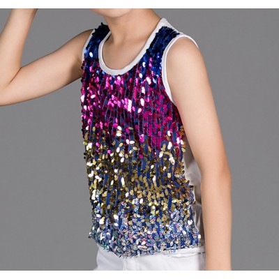 boy jazz dance vests Rainbow sequined  kids children stage performance competition street dance show performance hiphop dance tops vests