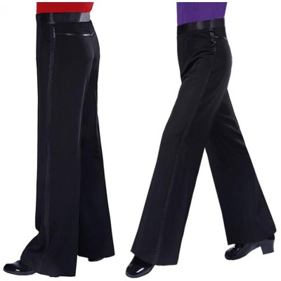 Boys adult Black Satin Ribbon On Side Panel Ballroom Tango Salsa Samba Pants Mens Latin Dance Pants