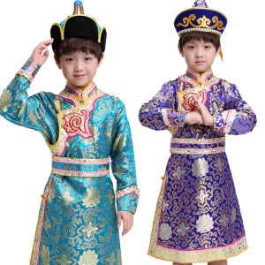 Boys Chinese folk dance costumes Mongolian national cosplay performance robes royal blue turquoise traditional dancing dresses