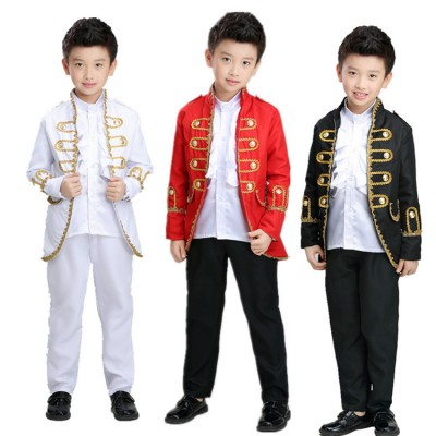 Boys European palace folk jazz dance costumes red black white minority ancient party jazz singers show dancers dancing outfits  tops and pants