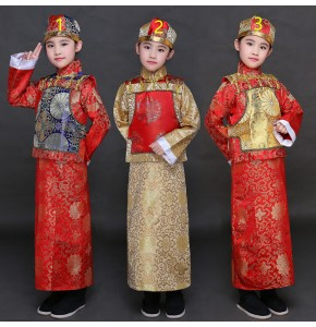 Boys folk dance costumes ancient qing dynasty traditional kids children emperor landlord drama film cosplay stage performance photos clothes