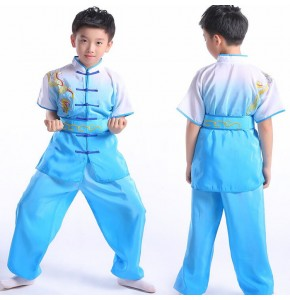 Boys folk dance costumes kongfu martial girls children turquoise fuchsia white stage performance gymnastics fitness taichi exercises dancing oufits