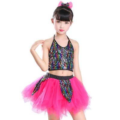 Boys girls jazz dance costumes pink modern dance street dance hiphip cheer leaders performance dancing outfits