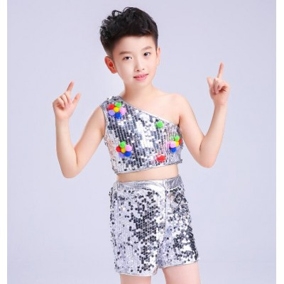 Boys girls jazz dance costumes sequined modern dance toddlers singers hip hop competition pink silver dance dresses
