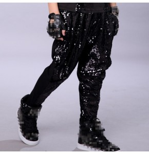 Boys  hiphop dance pants sequined fashion kids silver black modern dance show  jazz singers team dancers drummer performance long harem pants trousers