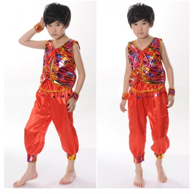 Boy's jazz dance costumes Boys Indian dance performance costumes children's national dance costumes, children's lantern pants, drum suits