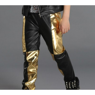 Boys jazz dance pants leather kids gold black patchwork kids fashion show drummer hiphop team dancers performance long trousers