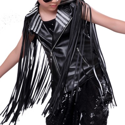 Boys jazz dance waistcoats rivet fringes kids children white black leather fashion drummer show competition performance vests