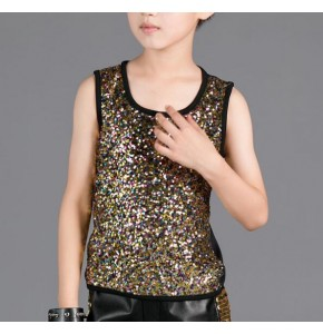 Boys jazz hip hop modern dance gold sequin vests stage performance competition tops