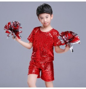 Boys jazz hiphop dance outfits paillette modern dance school competition show performance cosplay tops and shorts