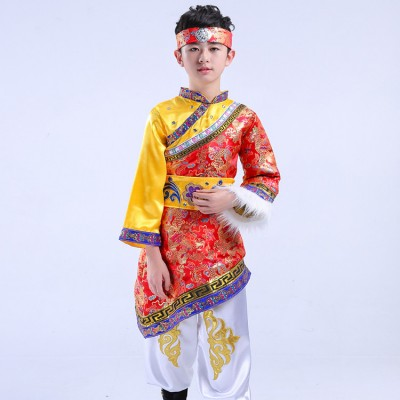 Boys Mongolian  chinese folk dance costumes minority ethnic performance drama film cosplay dancing robes