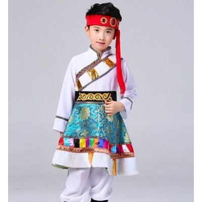 Boy's Mongolian Folk dance costumes kids children stage performance ethnic minority drama cosplay Mongolian dancing robes