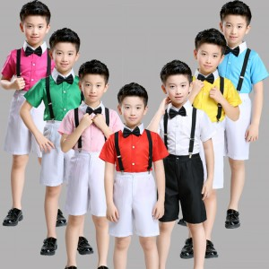 Boys school competition jazz dance costumes for kids children white green yellow pink blue chorus singers dancers modern dancing outfits