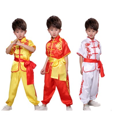 Boys wushu kung fu costumes kids children dragon Tae Kwon Do  martial traditional student performance unforms  tops and pants