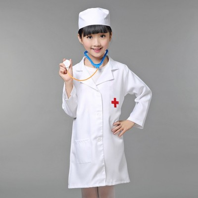 Child Christamas Cosplay Costume Kids Doctor Costume Nurse Uniform Girls Game Clothing Wear Clothing for Party with Hat