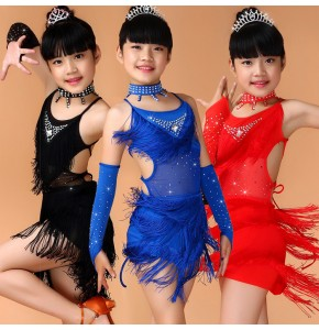 Child Girls Kids Cheap Rhinestones competition Black Blue Red Pink Sequin Fringe Salsa Dancewear Dance Costume Salsa Dance Dresses
