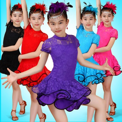 Child Kid Children Latin Dance Dress For Girls Samba Stage Dress Dancing Dress Latin Dancewear Performance Lace Costume