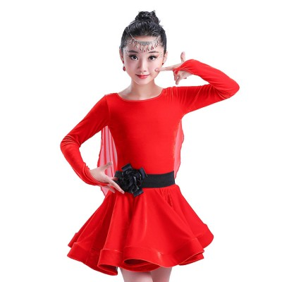 child kid children Velvet professional long sleeves latin dance dress girls ballroom dancing dresses kids rumba cha cha costumes