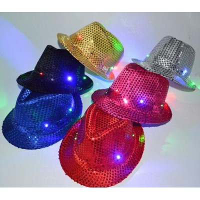 child LED Light-Up Hat Blinking Flashing Sequin glitter Jazz Hat Cap  Children's Day Party Dance Show