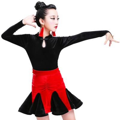 Children Black and red latin dresses kids girl's stage performance long sleeves turtle neck competition ballroom latin salsa dance dresses